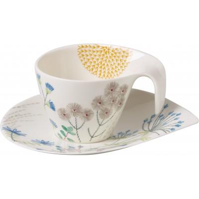 Pusryčių puodelis su lėkštute